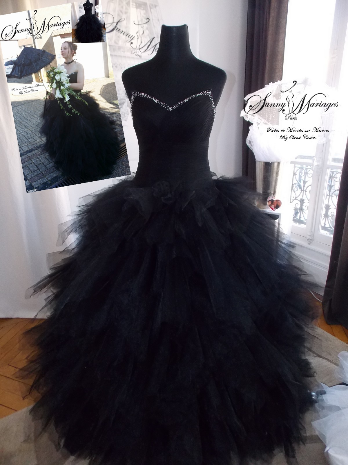robes l gantes robe bustier longue en tulle noire. Black Bedroom Furniture Sets. Home Design Ideas