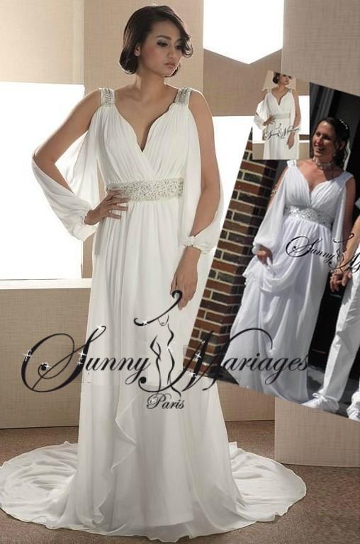 robes de mariage coupe empire avec manches sunny mariage. Black Bedroom Furniture Sets. Home Design Ideas