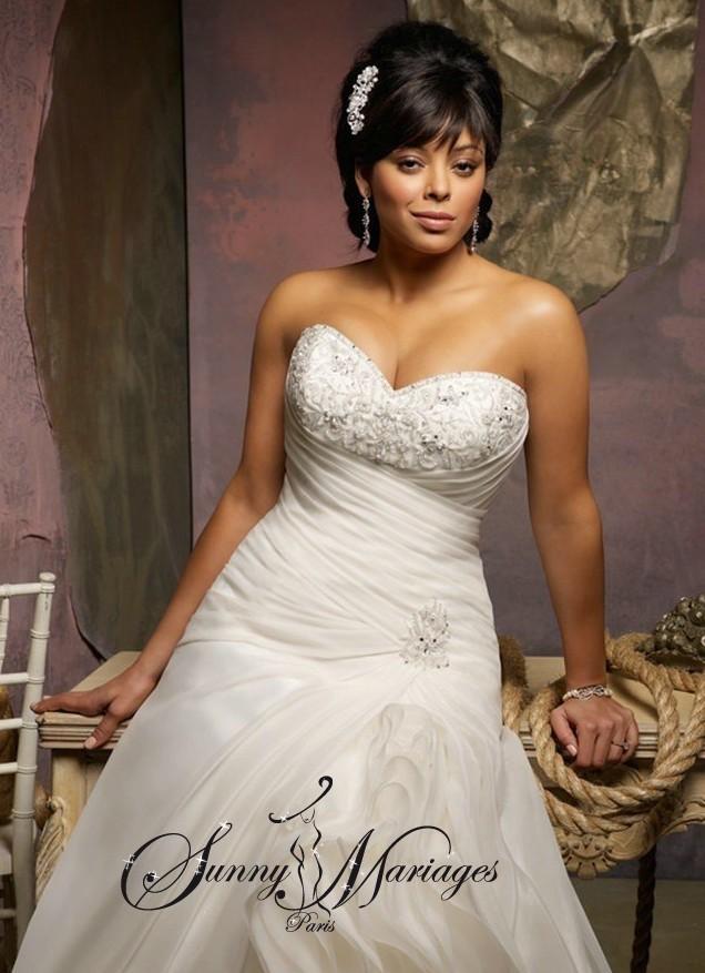 Robe de mariée femme ronde sirène bustier coeur  Sunny Mariage