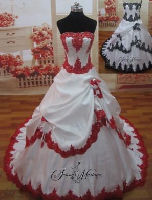 robe de mariee rouge et blanche ou noir et blanche sur mesure sunny mariage sunny mariage. Black Bedroom Furniture Sets. Home Design Ideas