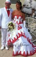 robe de mariee rouge et blanche, robe de mariee blanche et rouge, robe de marie couleur