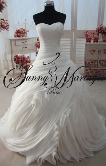 robe de mariee princesse originale volant organza bustier. Black Bedroom Furniture Sets. Home Design Ideas