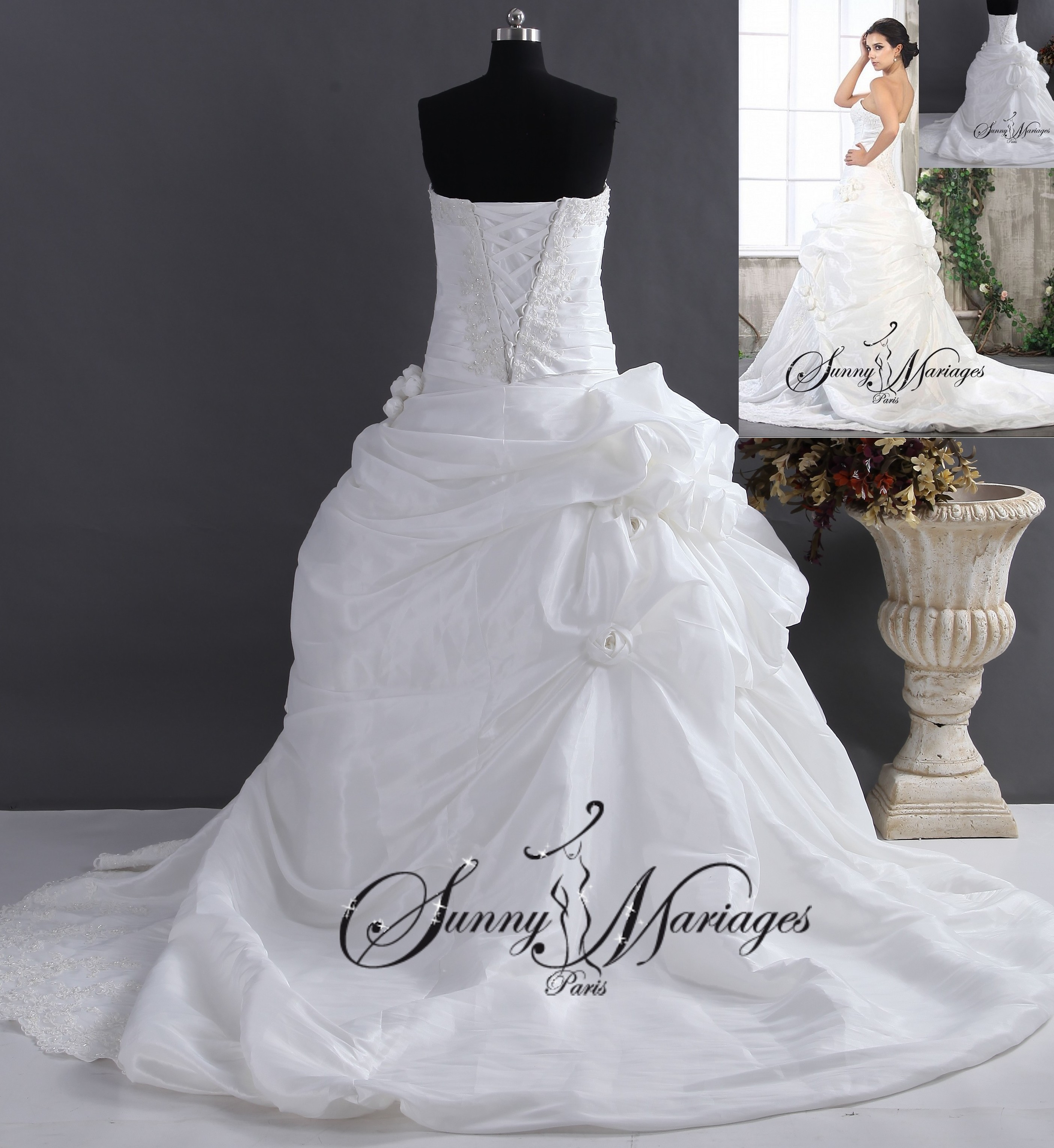 Robe de mariee princesse et bustier en taffetas robe for Robe blanche et bleue pour mariage