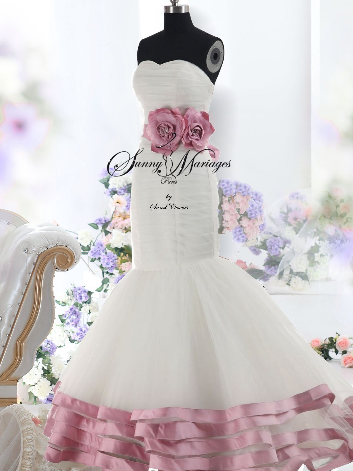 robe de mariee pas chere rose et blanche forme sirene sunny mariage. Black Bedroom Furniture Sets. Home Design Ideas