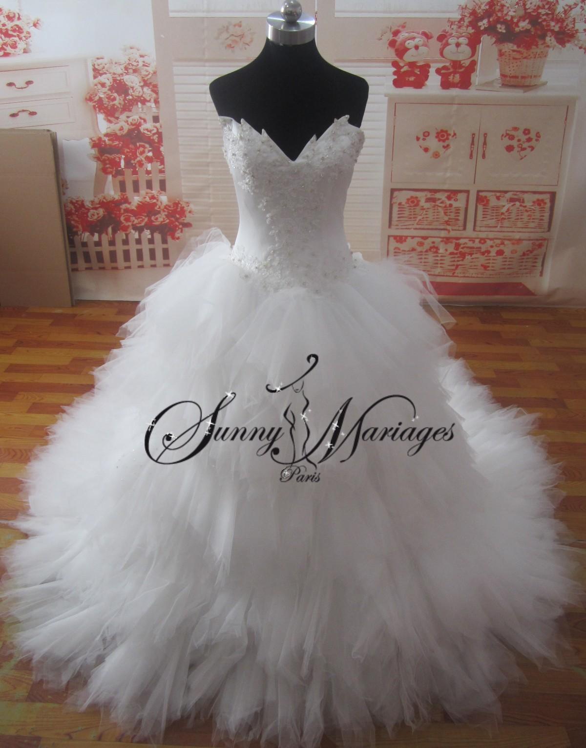 Bien connu Robe de mariee bustier pointe jupe mouchoirs de tulles, robe de  GE16