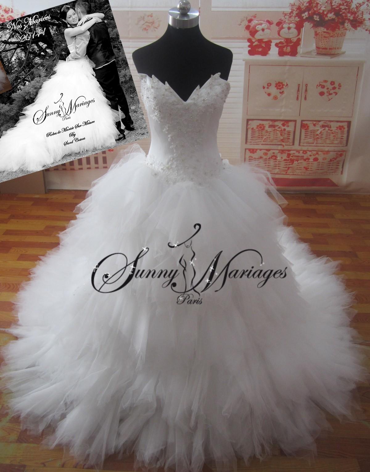 Robe de mariee bustier pointe jupe mouchoirs de tulles, robe de mariee ...