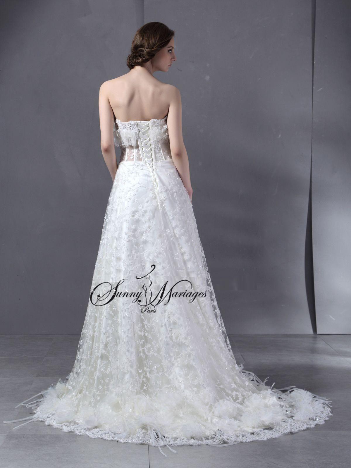 Robe de mariée plume – bustier transparent – « Picture »
