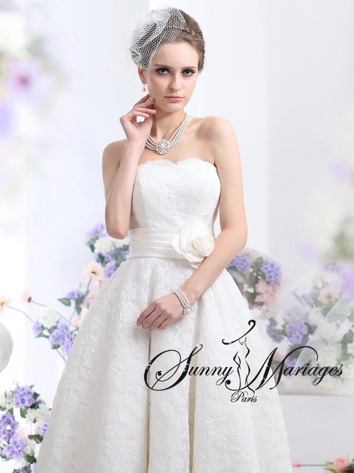 Robe de mariée courte en dentelle ou longueur cheville au choix ...
