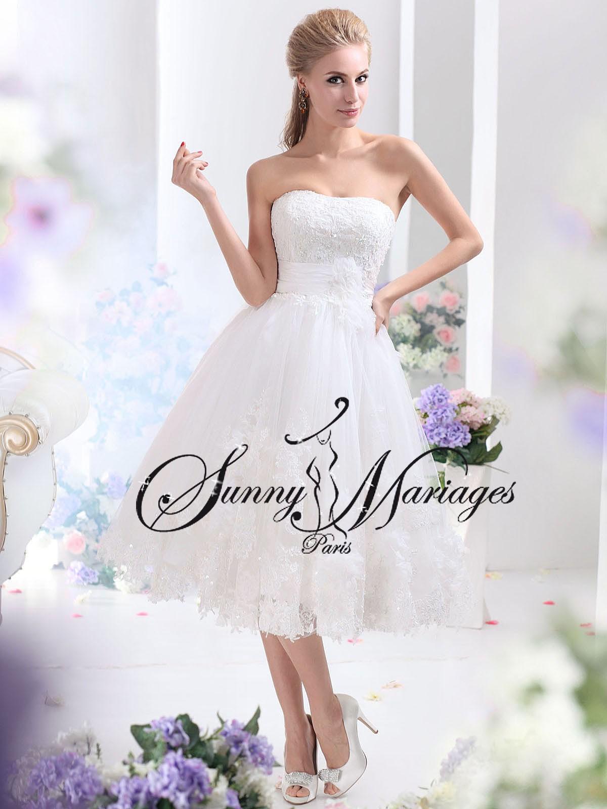 robe de mariee courte tulle et dentelle bustier originale vente en ligne pas cher sunny mariage. Black Bedroom Furniture Sets. Home Design Ideas