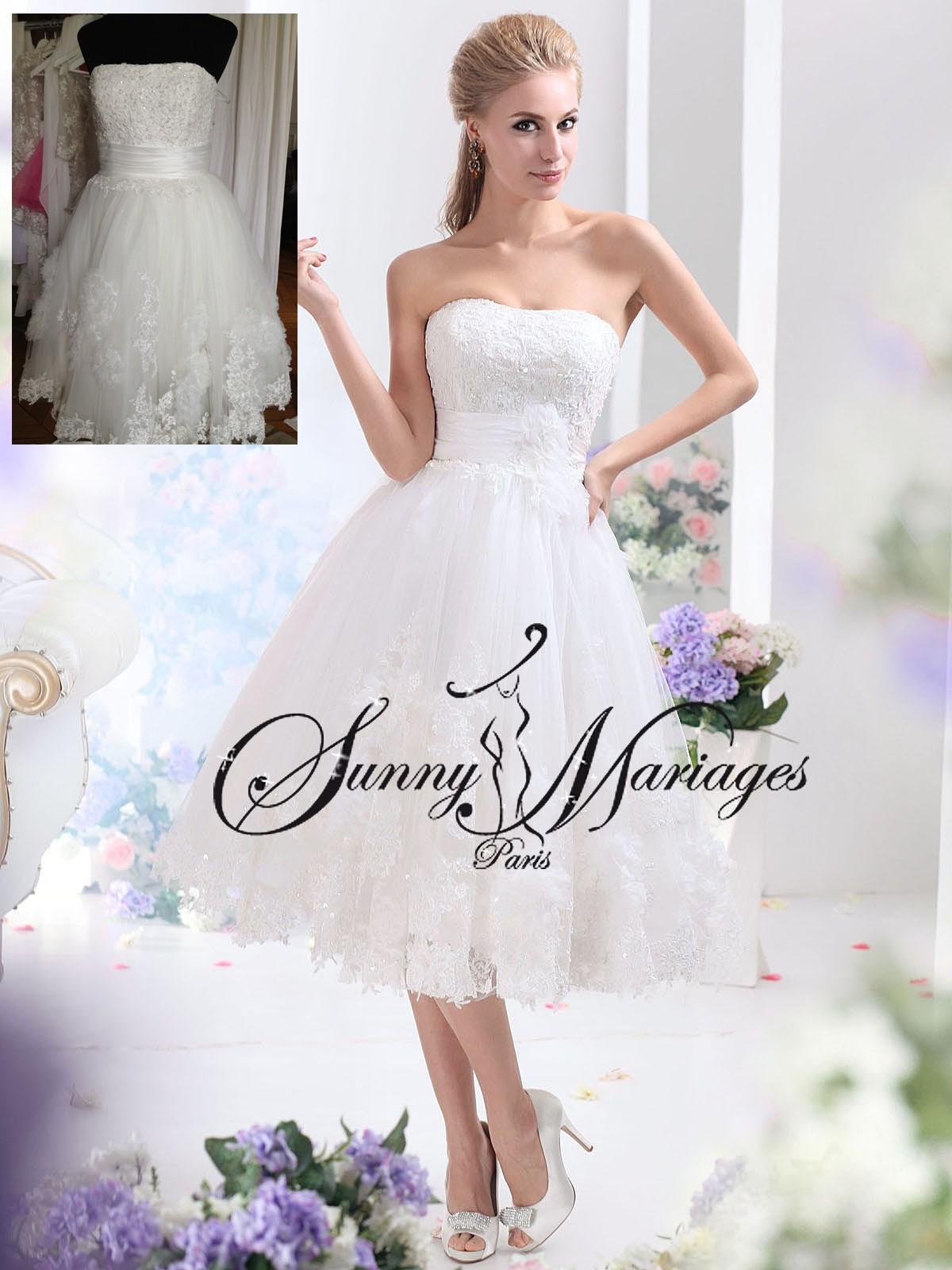 Robe de mariee courte en dentelle blanche