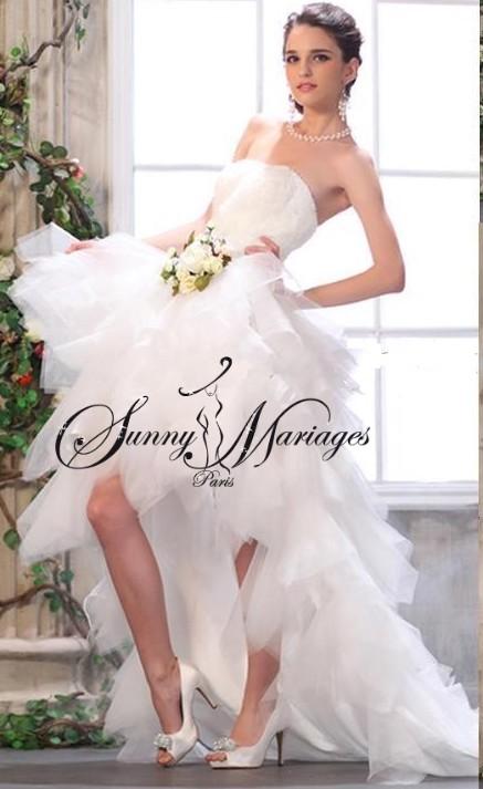robe de mariee bustier et jupe en tulle courte devant et longue ...