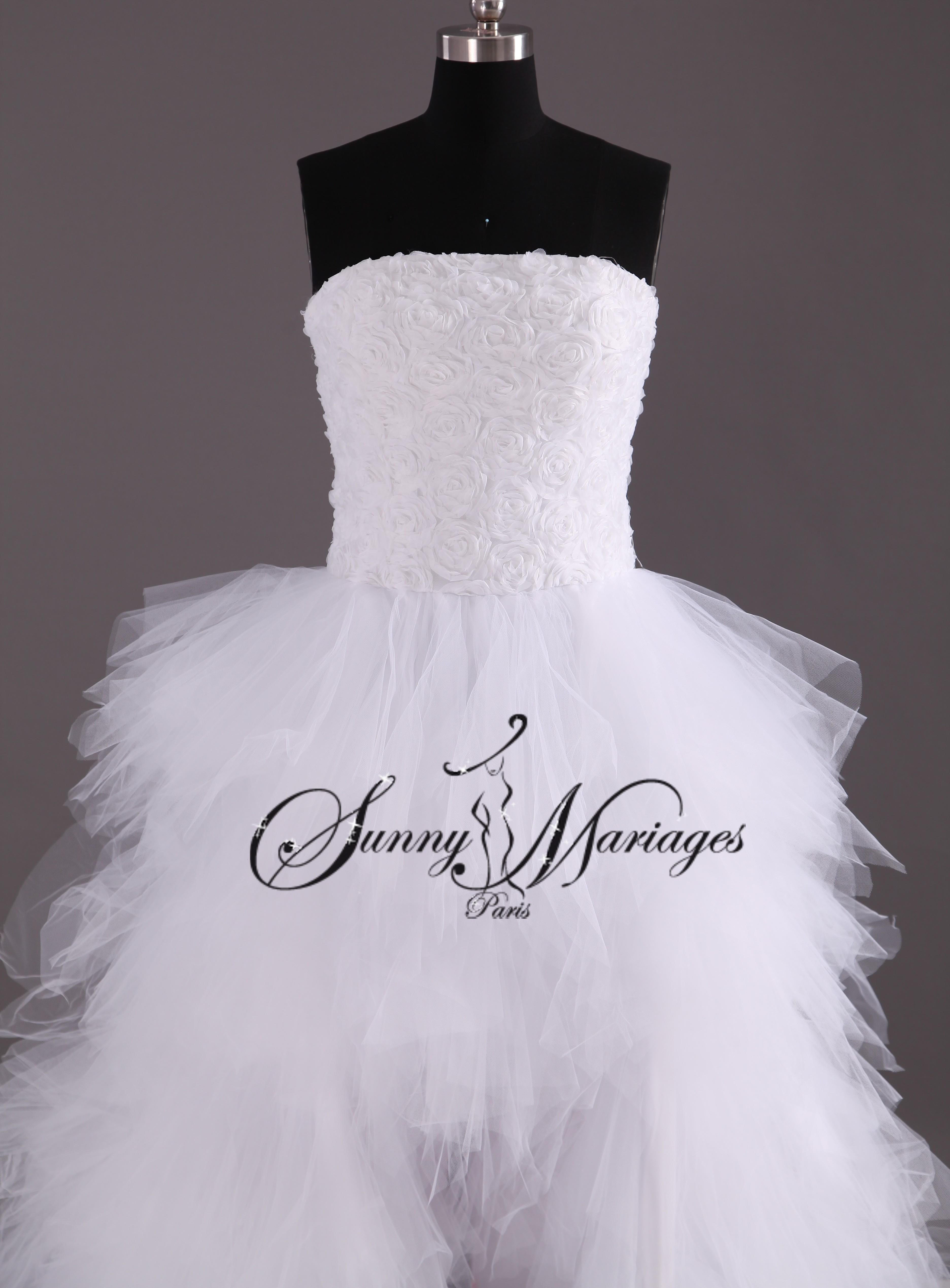 robe de mariee courte devant et longue derrière en tulle avec bustier ...
