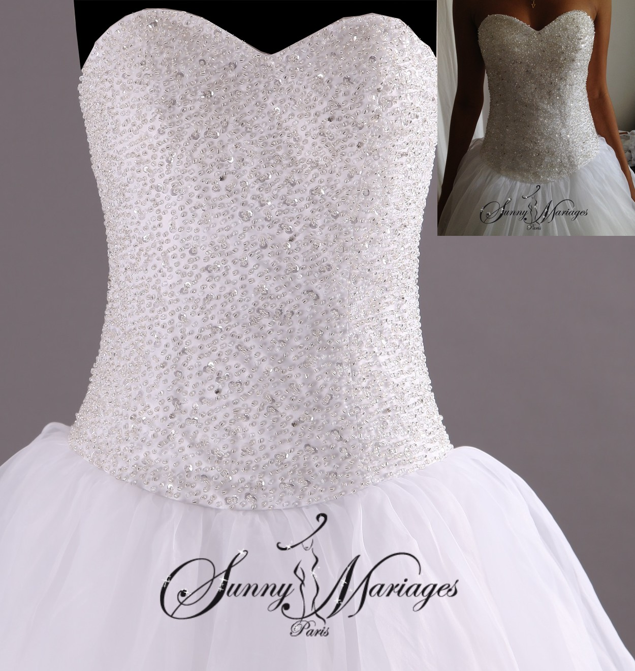 robe de mariee princesse bustier strass et perles transparente (2)