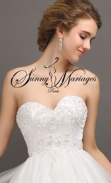 robe de mariee bustier coeur perlé, robe de mariee princesse, robe de mariee jupe tulle fluide