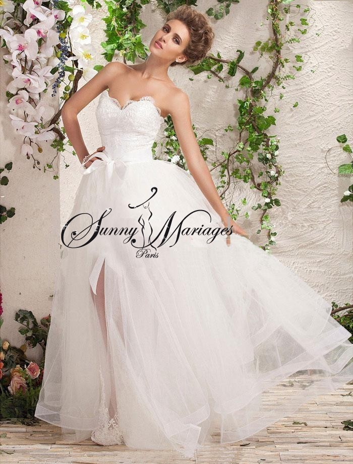 Robe de mariee longue avec traine amovible