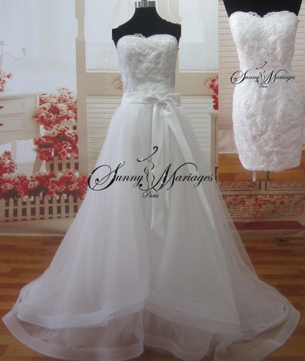 robe de mariee courte en dentelle et sa jupe longue amovible