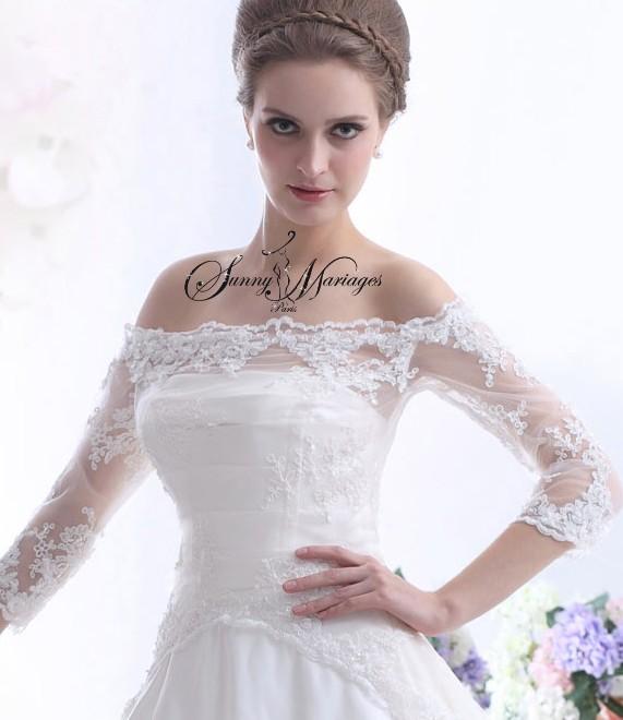 dentelle et manche, robe de mariee princesse, robe de mariee bustier ...