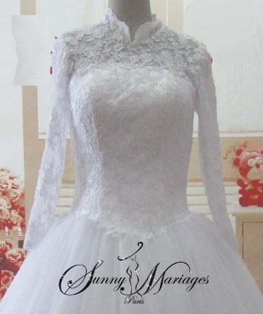 Robe de mariee princesse en dentelle et tulle, robe de mariee d ...