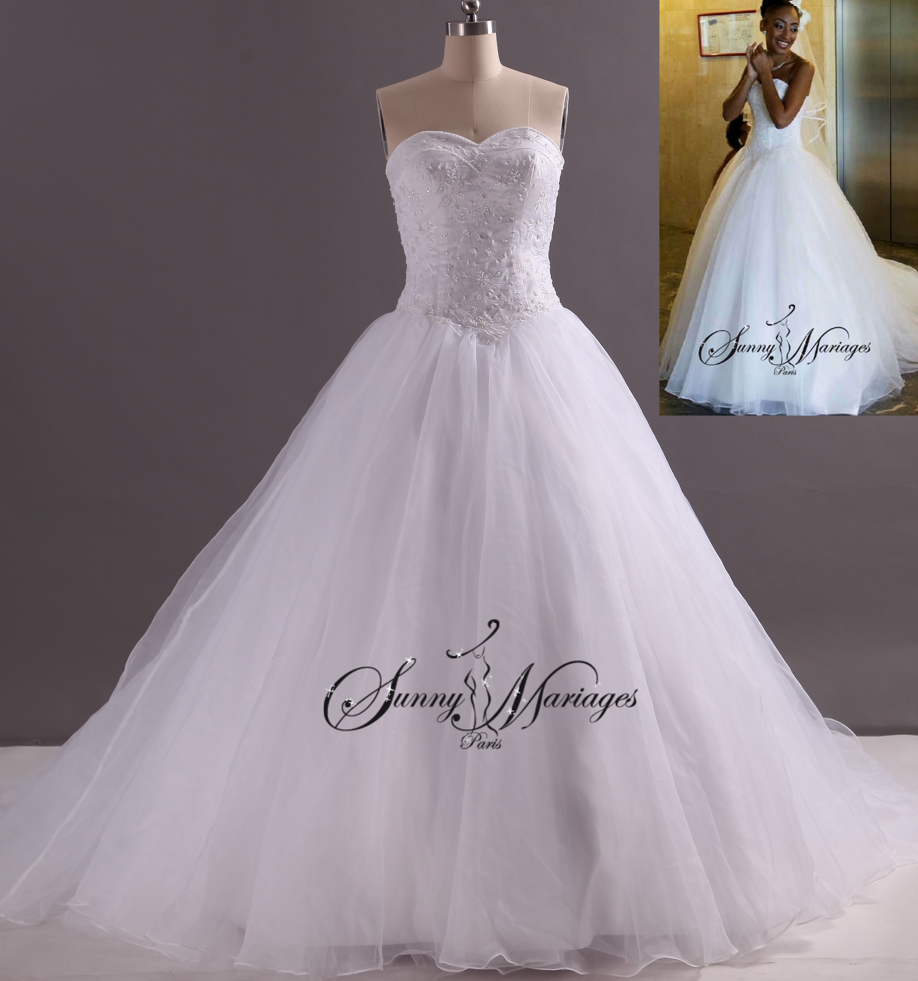 robe de mariee princesse, robe de mariee bustier, robe blanche de ...