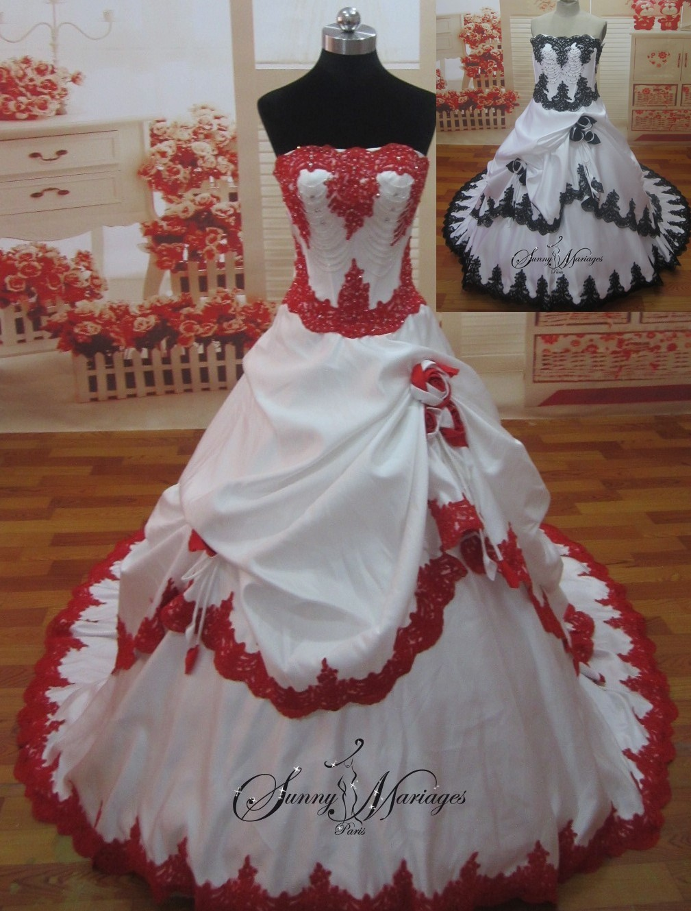 robe de mariee rouge et blanche robe de mariee dentelle rouge robe de mariee satin et dentelle. Black Bedroom Furniture Sets. Home Design Ideas