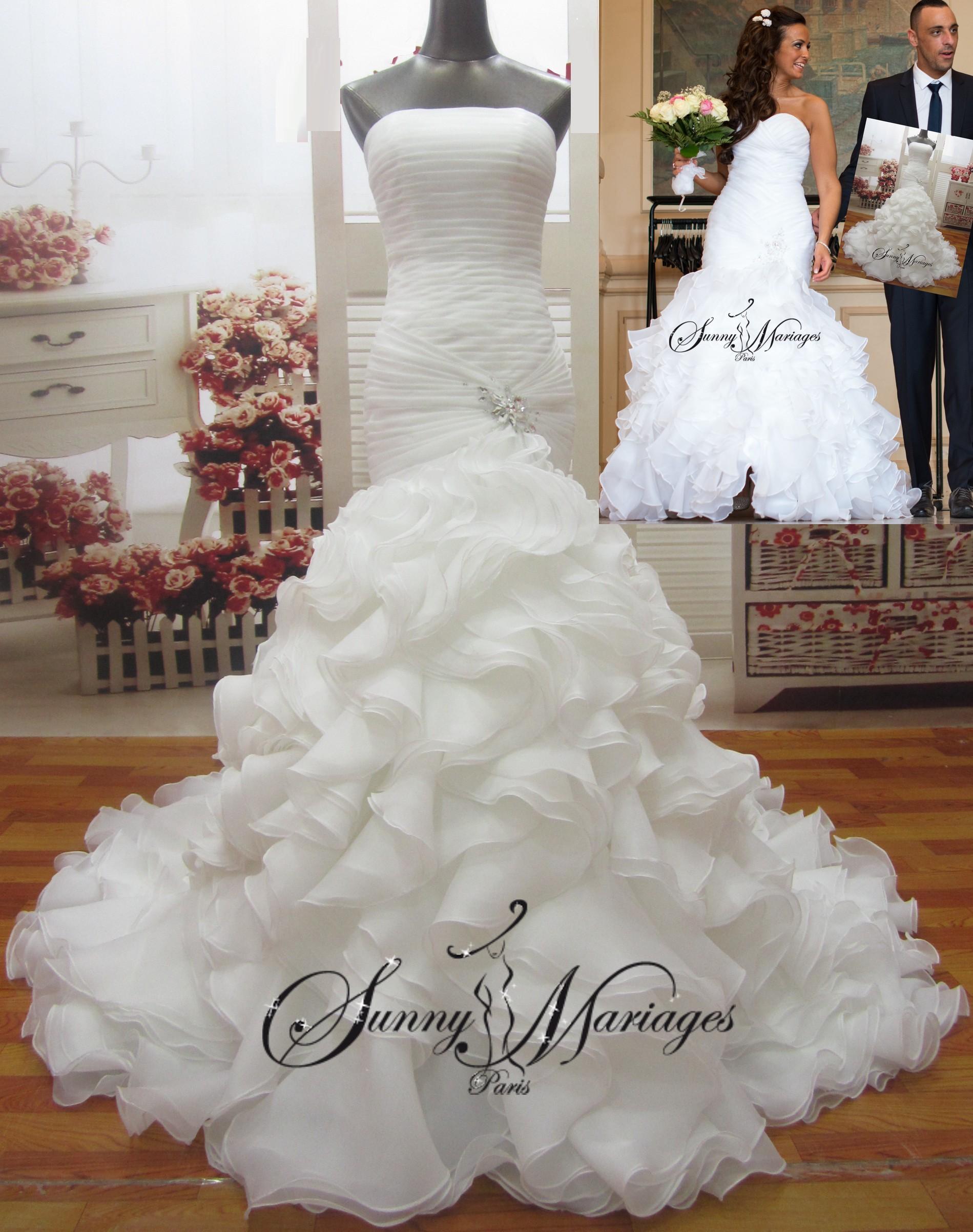 Robe de mariée sirène-bustier-froufrou- « Pétula »