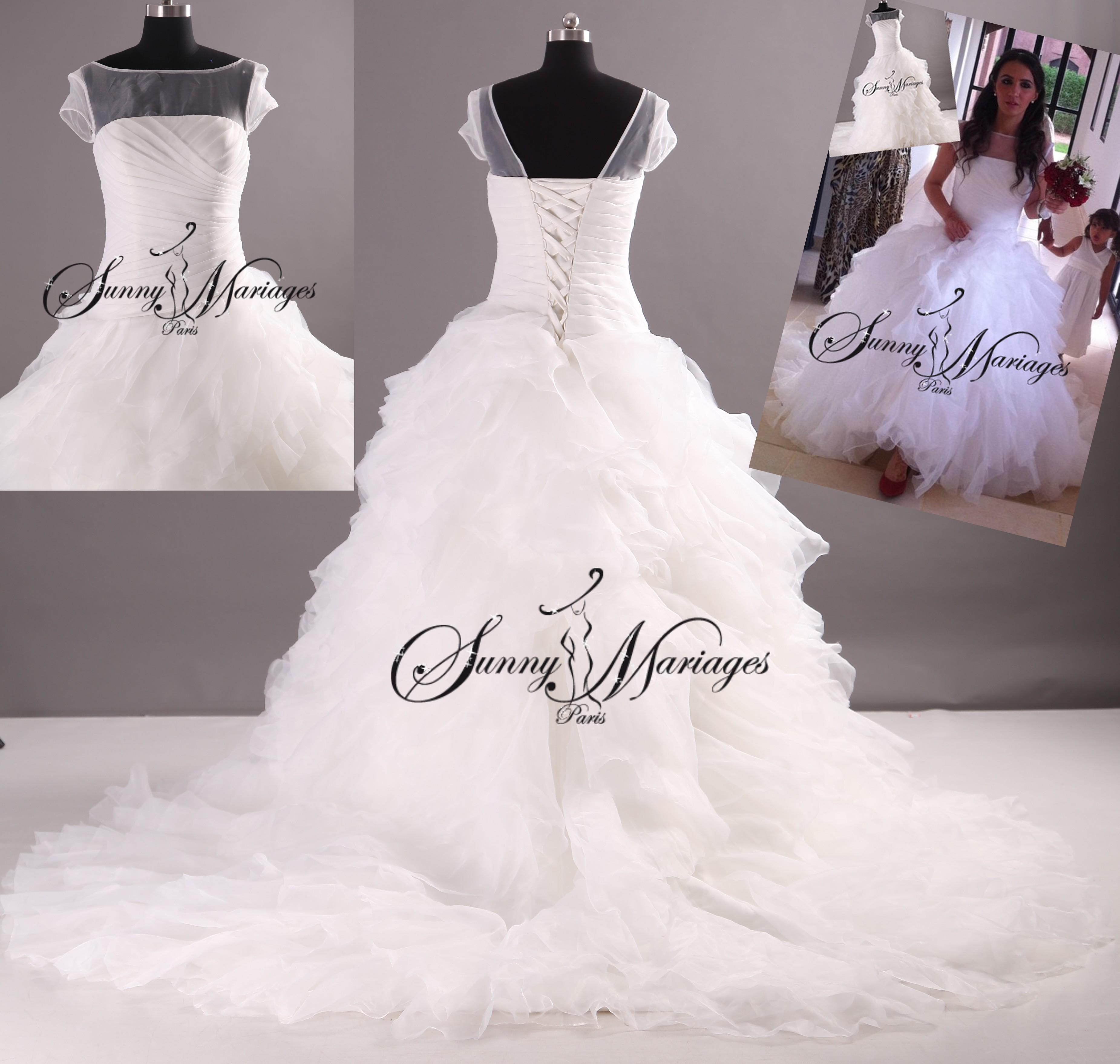 robe de mariée princesse manche courte sur mesure pas cher  Sunny ...
