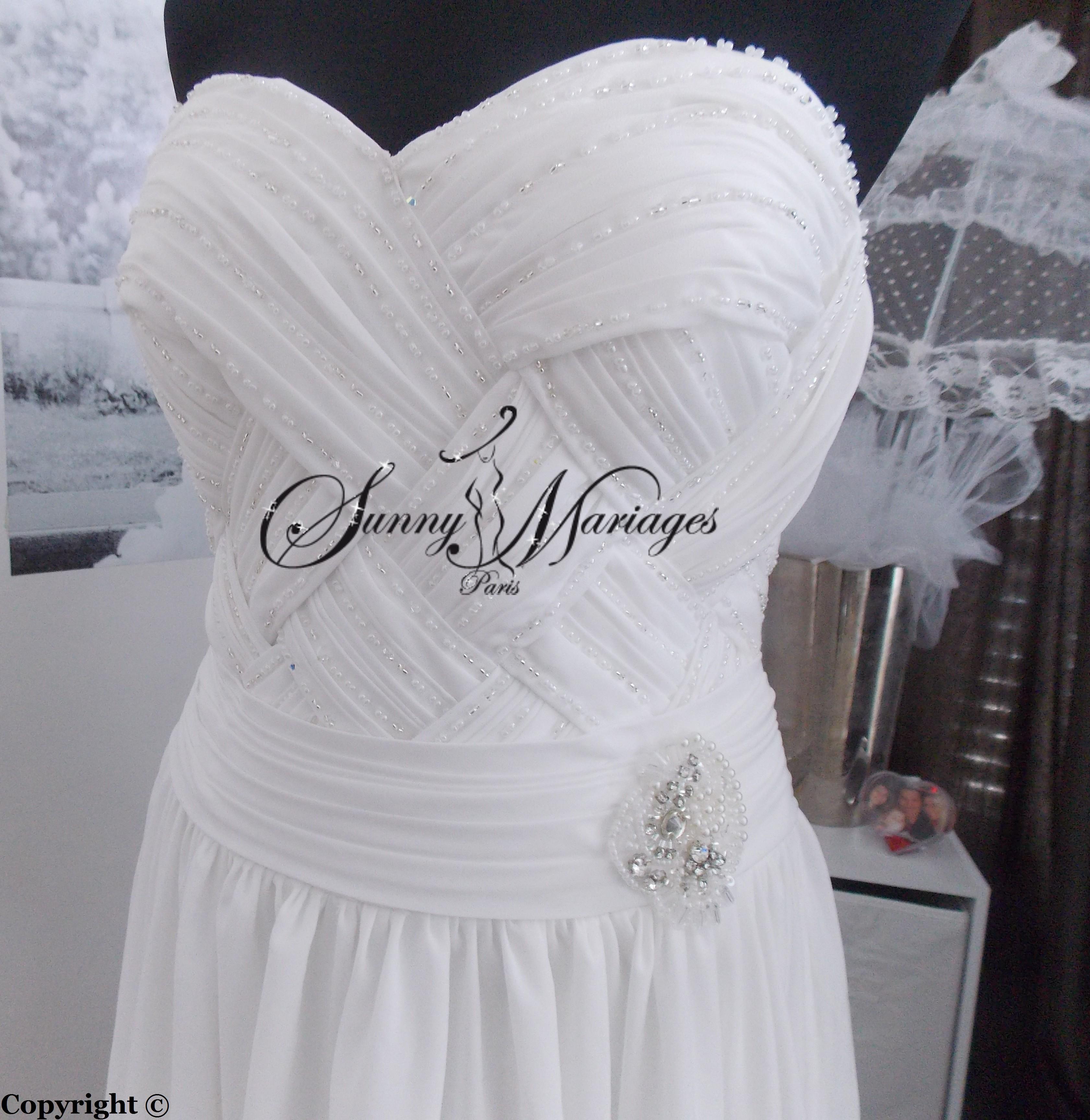 robe de mariee pas cher en vente en ligne en mousseline fluide  Sunny ...