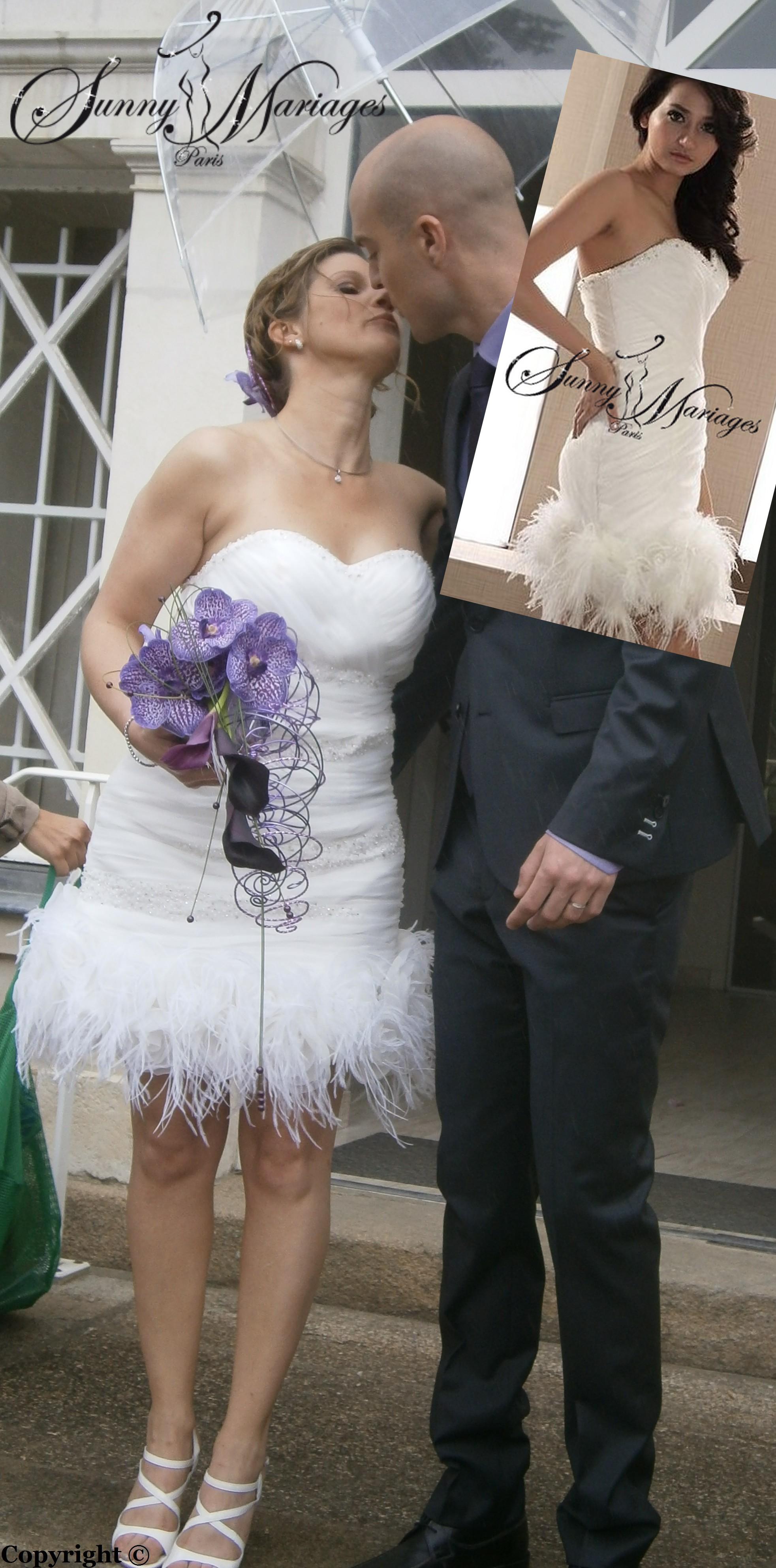 robe de mariee courte avec plume dautruche