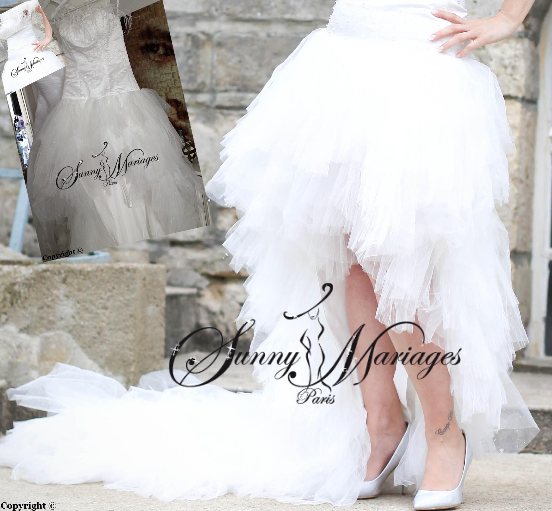 robe de mariee en mouchoir de tulle asymetrique originale et pas cher ...