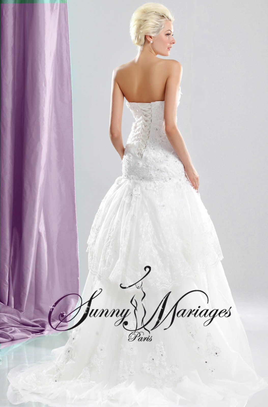 Robe de mariee bustier sirene et dentelle collection chic et pas cher sunny mariages sct - Robe mariee bustier dentelle ...