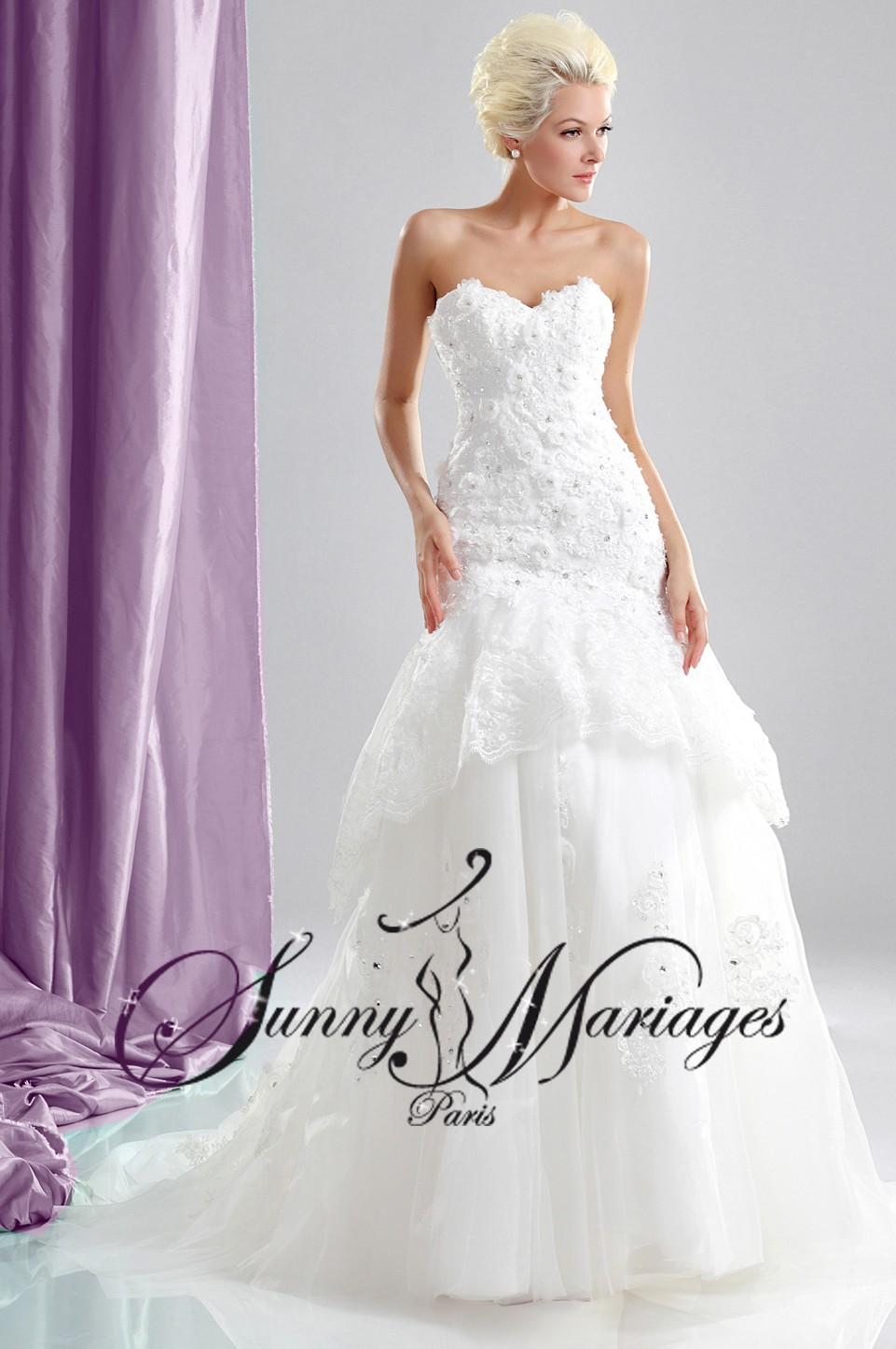robe de mariee fluide manches courtes  Sunny Mariage
