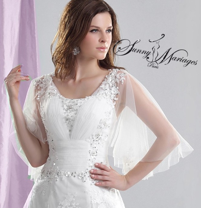 robe de mariée princesse manche et coupe a-line en dentelle  Sunny ...
