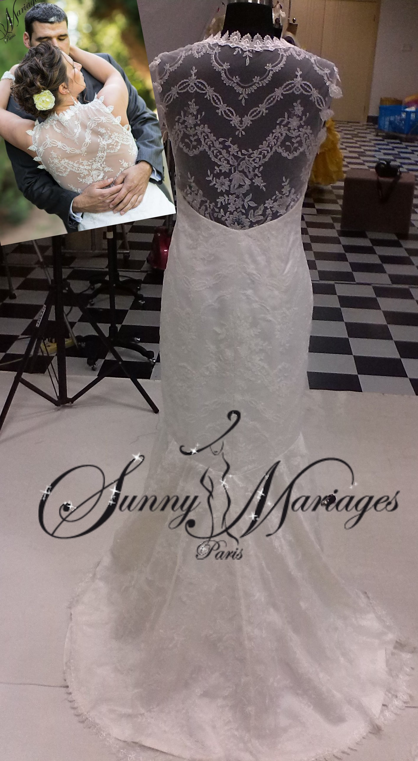 Cette robe de mariee au dos tout en dentelle est un modele romantique ...