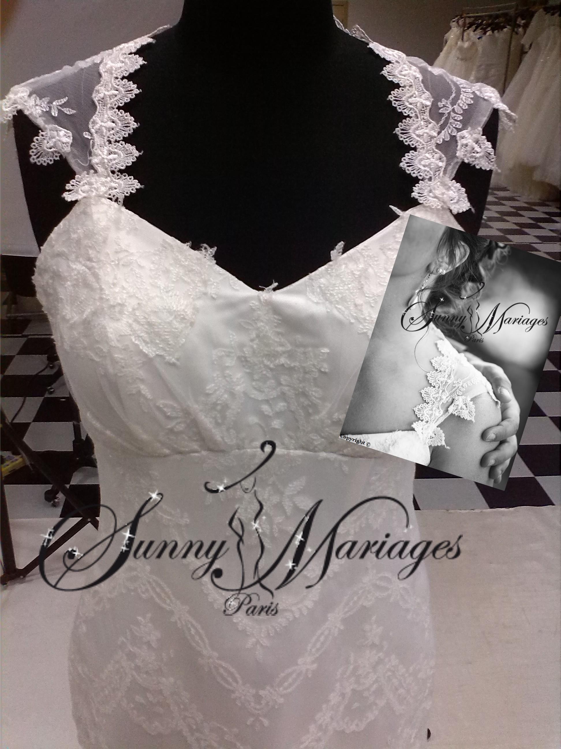 robe du mariage originale dos dentelle et bretelles robe de