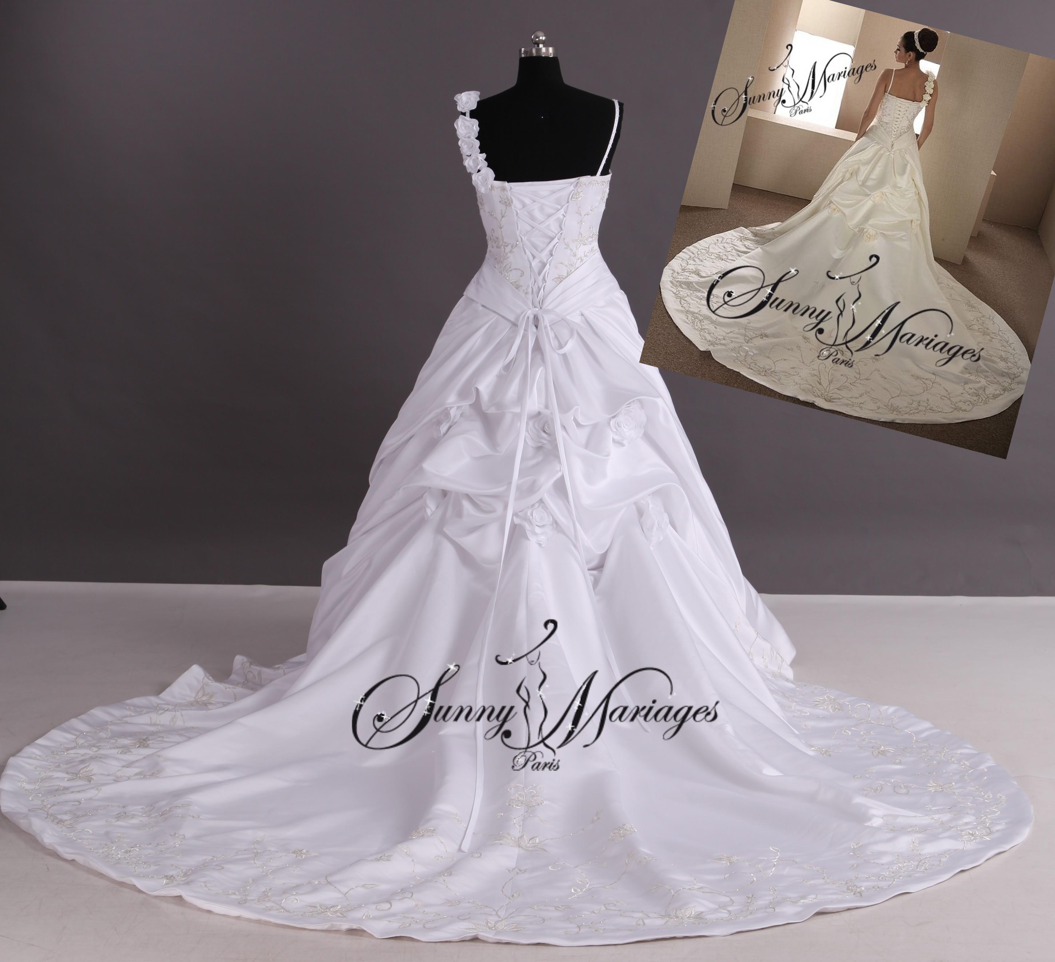robe du mariage princesse sissi bustier brodé argent et dentelle sur  mesures possibilité grandes tailles
