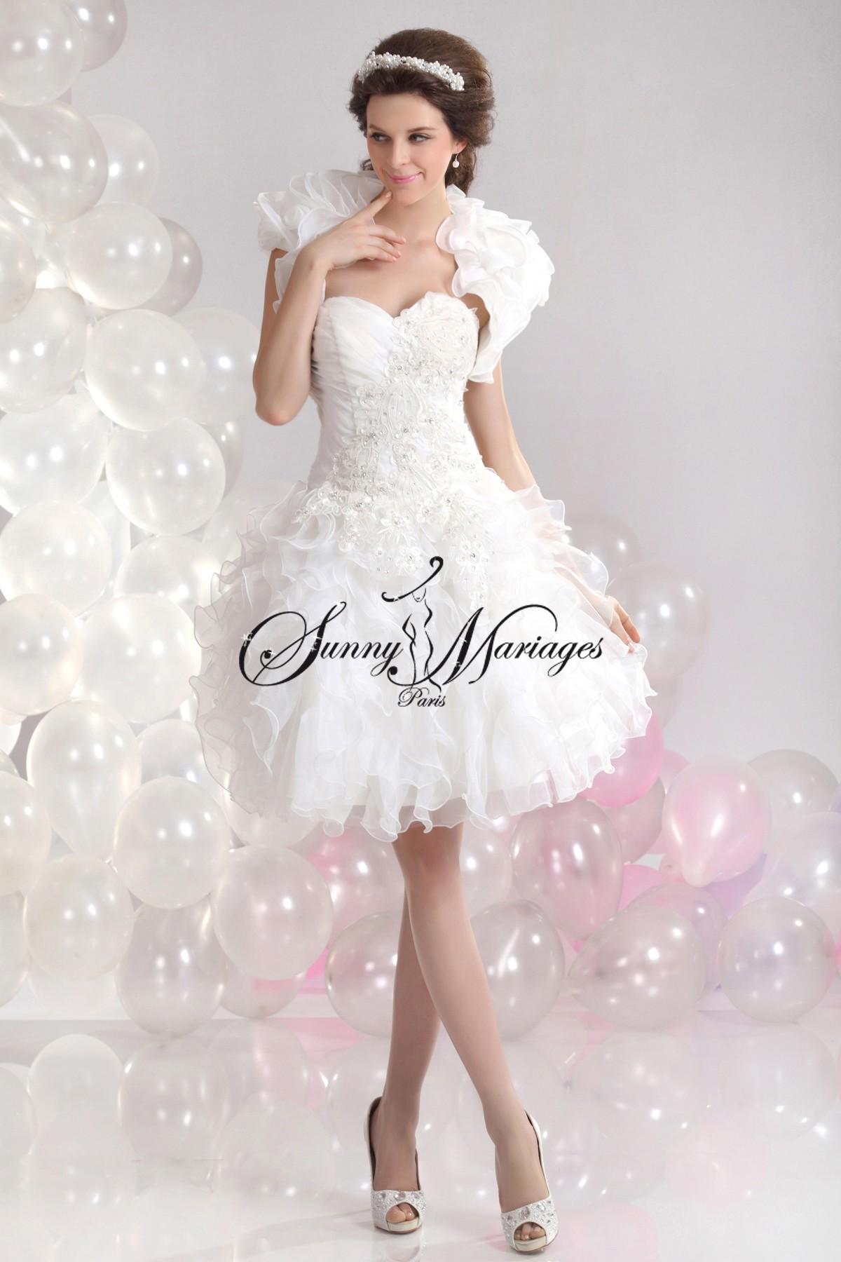robe de mariee courte avec dentelle simple et elegante bustier drapé ...
