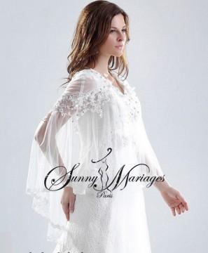 robe de mariee en dentelle avec cape en tulle fluide vente en ligne ...