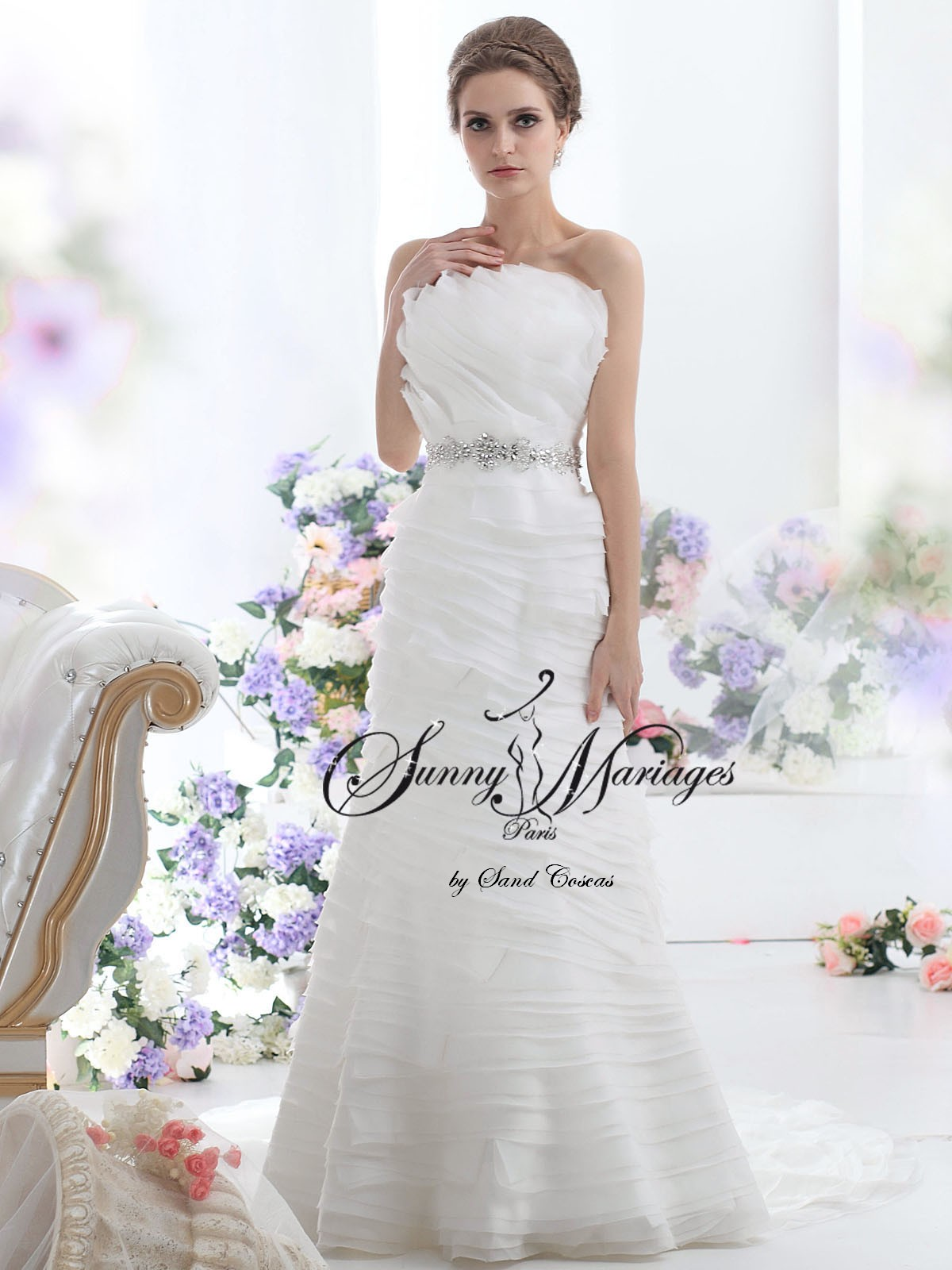 robe de mariee originale en organza et ceinture strass Collection ...