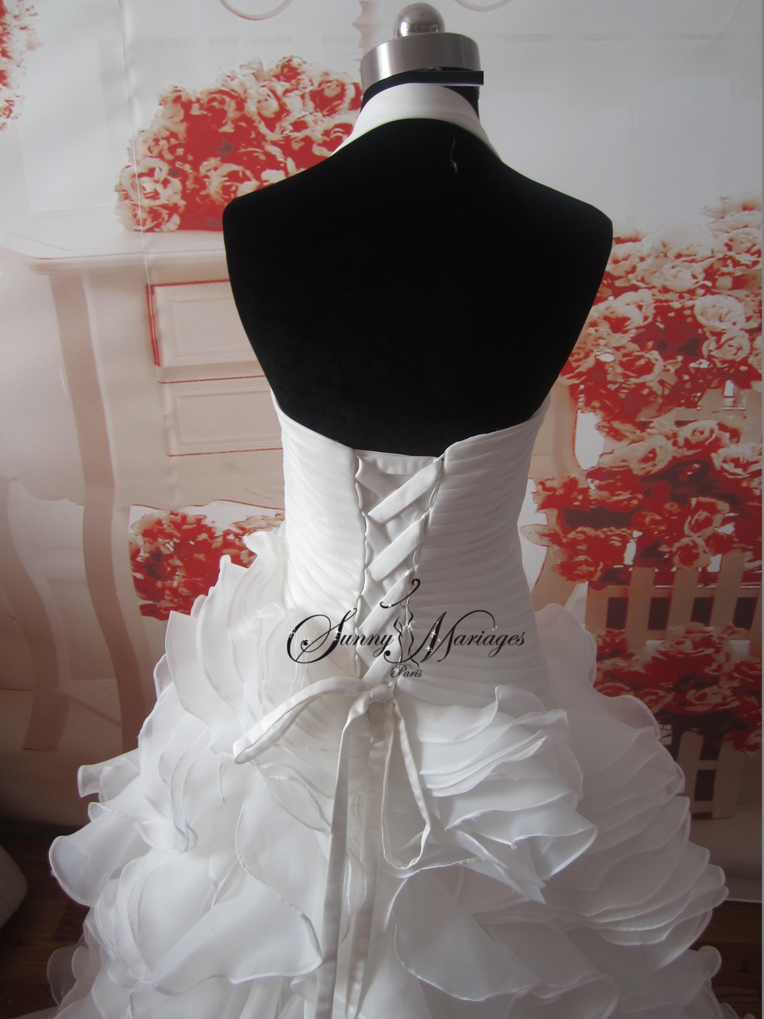 Robe de mariage bustier tour de cou en drapé dorganza collection ...