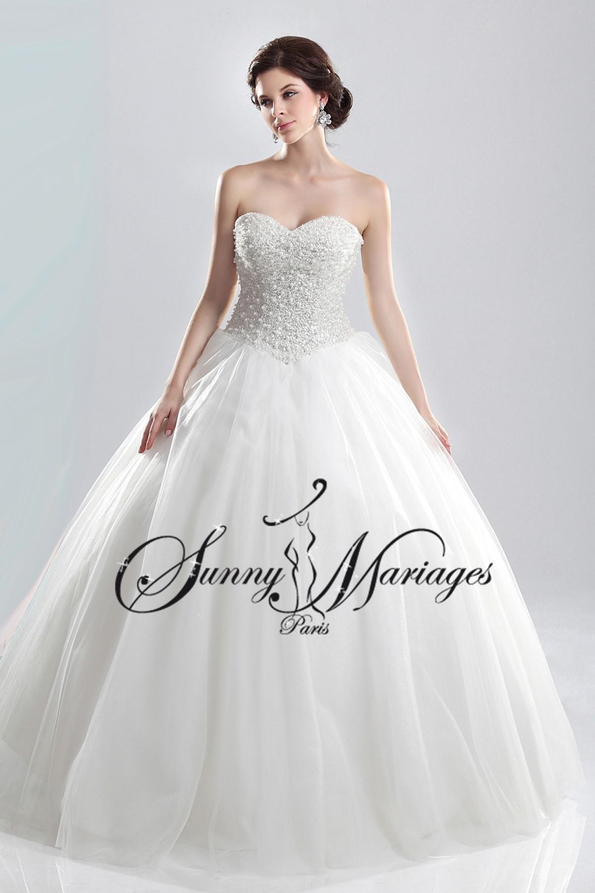 Robe de mariée princesse bustier perlé sur mesures SUNNYMARIAGES ...