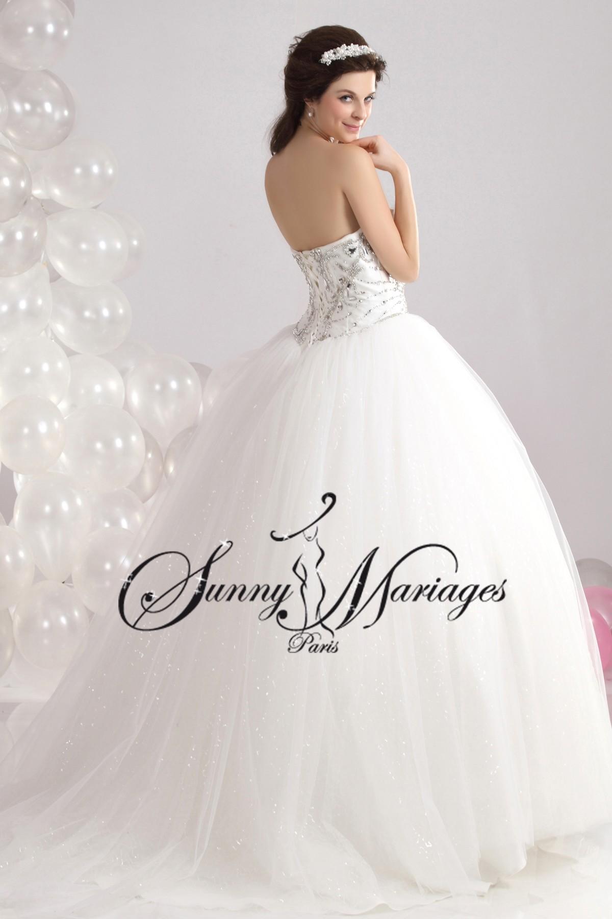Robe de mariee princesse et bustier strass sur mesures sunny mariage - Robe de mariee strass ...
