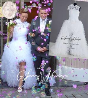 robe de mariee courte de ant longue derrieère asymetrique Sunny Mariages Paris