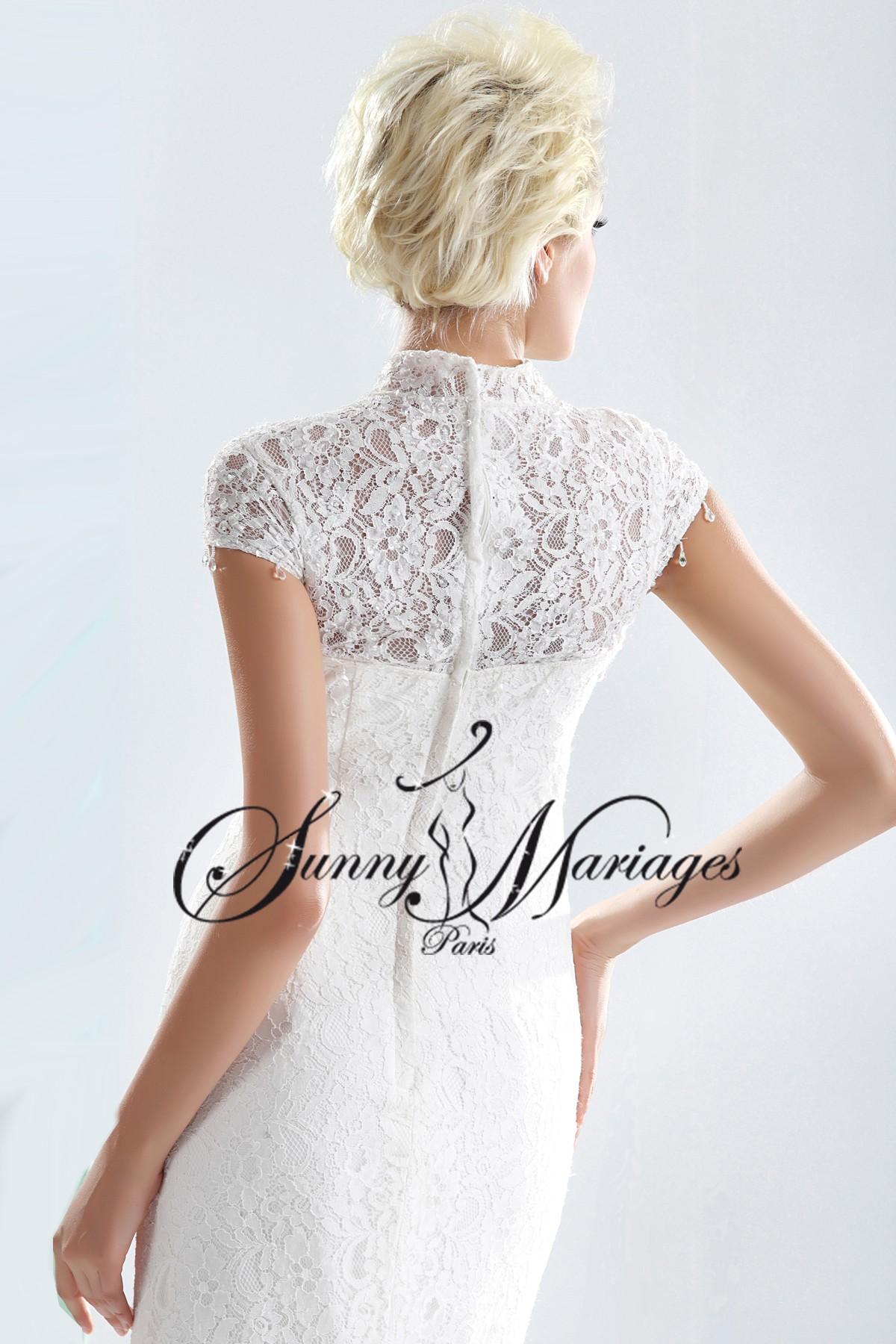 robe de mariee sirene ou fourreau avec manches en dentelle sunny mariage. Black Bedroom Furniture Sets. Home Design Ideas