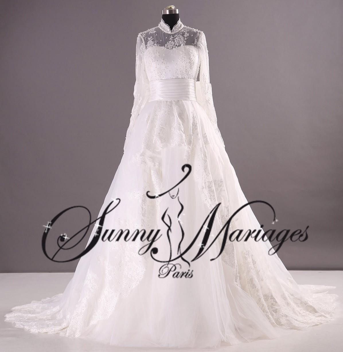 Robe mariee manche longue en dentelle plumetis et col montant sunny mariage - Robe de mariee manche longue dentelle ...