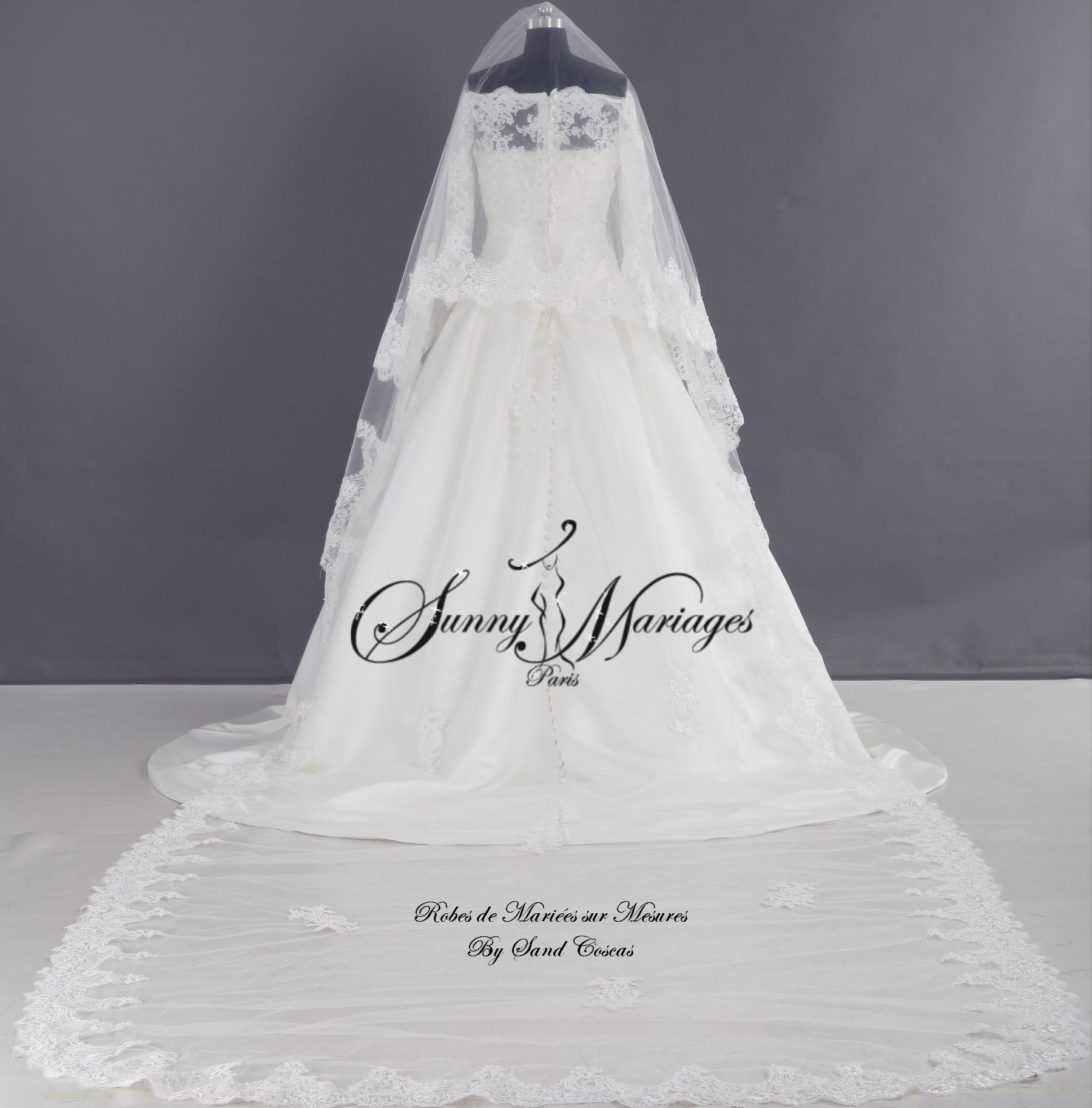 robe de mariee bustier et top en dentelle voile cathédrale Collection ...