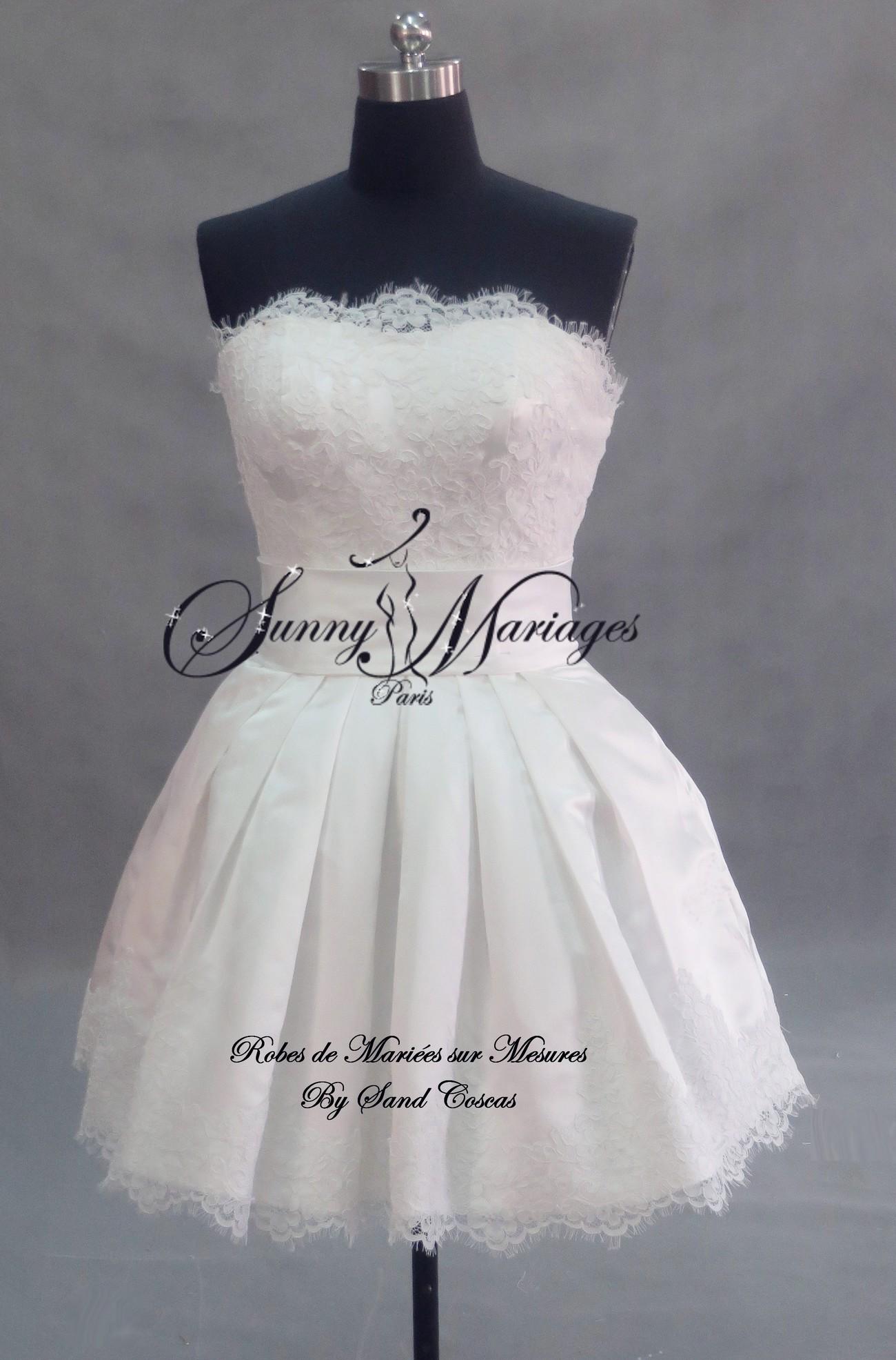 Robe de mariée courte bustier dentelle et jupe en taffetas