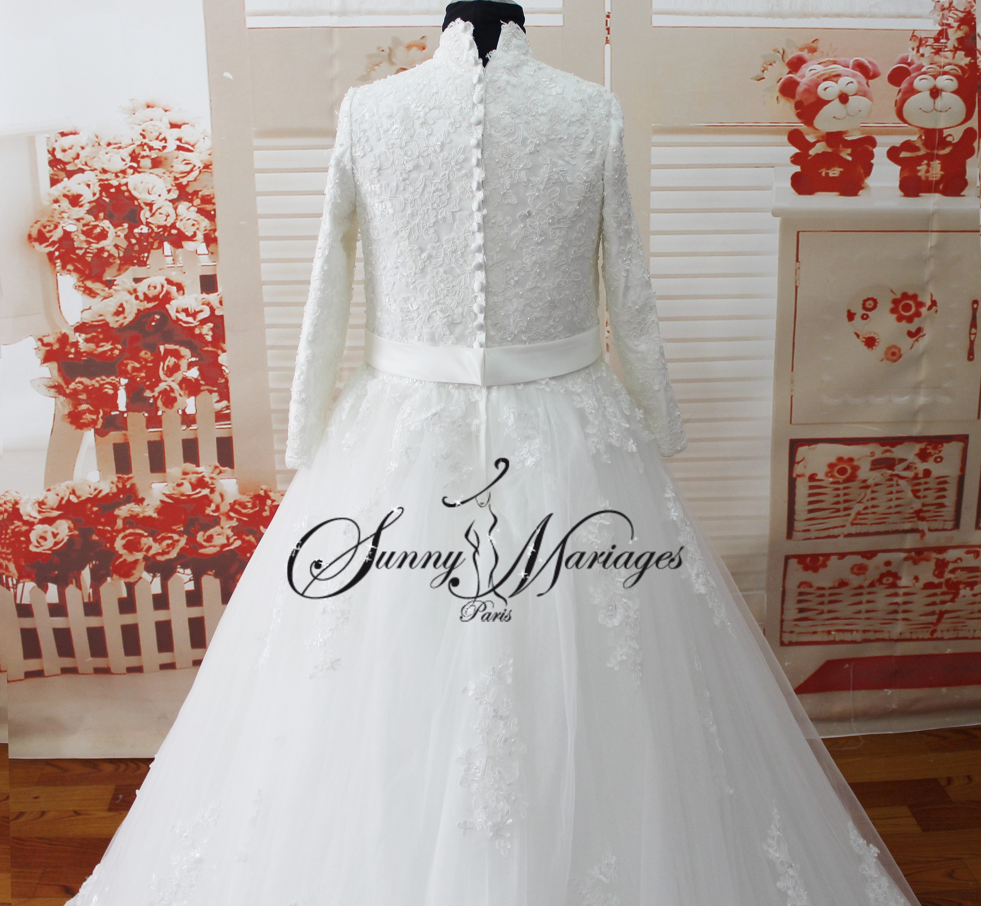 Robe de mariee manches longues sunny mariage - Robe de mariee manche longue dentelle ...