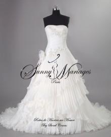 robe de mariee princesse originale bustier drappé jupe en organza plissé SUNNY MARIAGES 2015