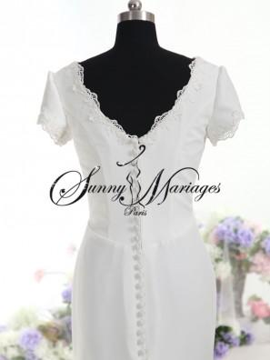 robe de mariee sur mesure en mousseline fluide simple et l gante sunny mariages paris sunny. Black Bedroom Furniture Sets. Home Design Ideas