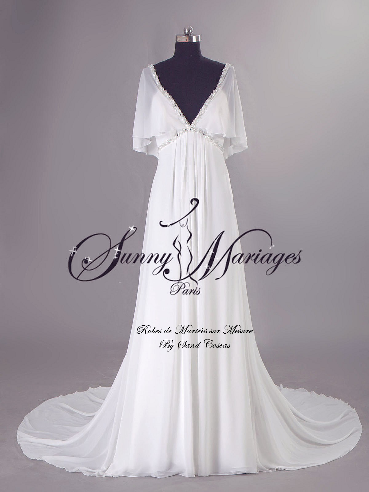 Robe de mariage empire boheme chic en mousseline sur for Robes de mariage empire uk